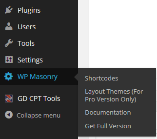 WP Masonry Layout Plugin Navigation